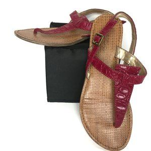 Aldo Burgundy Thong Flat Leather Sandal 37